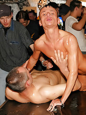 Teenage gay dudes love blowing big dicks at a sex party