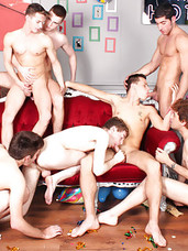 The night of the Bachelor Party has finally arrived and so has the stripper Mark Snow arranged for the nights festivities. The guests are up for a good time and the energy is high as this horny group grows even hornier watching Leo Domenico dance. Soon,