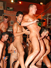 Lots of twinks and hunks fucking in a drunken gay groupsex