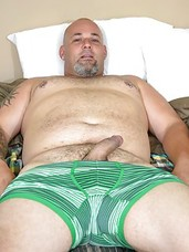 After relaxing with forty winks, we catch up with Joe Strong and wonder, what was he dreaming about? Perhaps you in bed with him, sucking his cock before tearing into you with that fat dick? Whatever it was must have got him going because next thing you k