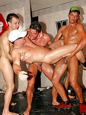 Homosexual hotshots banging tight butts and opened mouths