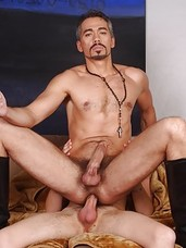 Insanely hung Danny Chance has handsome Daddy Tony Serrano bent over the sofa. Hes sliding his cock in and out of Tonys wet hole. When he cums inside the silver fox, Danny eats his own load out of it then spins Tony around and deep throats his cock. Dan