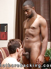 Buff stud Blaze has a very nice surprise for his white bottom boy in this video - hes going to fill him up with big, black cock, followed by white hot cum. The studly hottie really dominates that hole, fucking him rough in doggy style for an interracial
