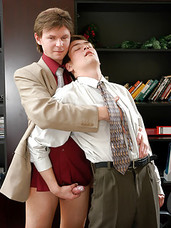 Lustful gay boss has cock-sucking and ass-fucking with rimjob on his agenda