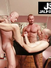 As the bareback orgy heats up, new men arrive and watch or pair off but we continue to focus on our hosts, Jan Losch and Karl Schiffers, who play with Niklas in the sling. Niklas is fucked like the whore that he is, tag team fucked and spit roasted by pie