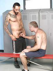 DILF workout partners have gay sex in locker room