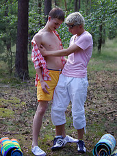 Hot young twinks set out into the forest to strip and suck each other