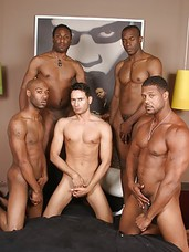 Black studs Aron, Cuba, JD, Justin and Gabriel are having gay group sex as initiation.