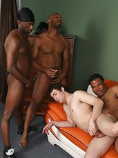 Black banger dudes Cash, Hot Boi, Kamrun and Tyrese fucking a newly moved white boys ass.