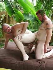 Tattooed bear cubs Nick Quik and Johnny Francis met online at Bear411 but didn't hook up until now, in a secluded backyard. The pair wastes little time on foreplay and pleasantries. These guys are hungry bears and eager for meat! Rock-n-roller Nick devo