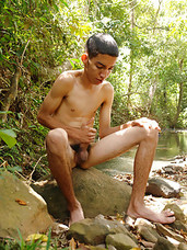 Pablo Torres is a slim sexy latin twink that likes nothing better than sitting by a stream naked and stroking one out for the cameras.   He gets covered in cum so jumps into the stream when hes finished to wash off the sticky goo before he continues on w
