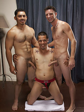 The three dirty boys dont waste any time with foreplay, as Miguel climbs onto the bed and jams his massive uncut meat-stick in Franks hungry asshole and begins pounding away. RJ watches all the action from the comfort of Franks mouth, where he gags the