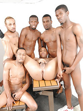 The lockerroom antics continue as our six sweaty studs show us just how a back room gangbang should go down. Dont miss seeing this hot black bottom boy get it sweet from his ThugOrgy teammates.