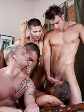 Drew Peters, Andre Barclay, Nelson Troy, Erik and Craig get all into one another for this non-stop bareback orgy. Want to know what the most enticing part of it is though? Drew and Andre both get deliciously double fucked in this group video. Dont miss t