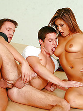 2 horny bisexual guys and a hot brunette in MMF fuckfest