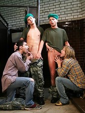 Two young squaddies making out with two horny attendants in a public toilet. Its a full blown orgy, each lad getting to taste the other three young cocks. The blond attendant has a great, lean body, and a lovely eight inch knob, which he uses to full eff