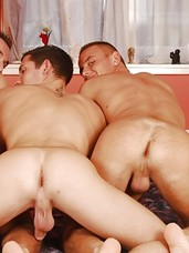 Frankie King is jerking off in bed when his horny roommates, Michael Troy and Gabe Russel, burst in on him. Even though Frankie tries to cover his uncut cock, the other uncut men make it clear they want some action and the threesome soon becomes a barebac