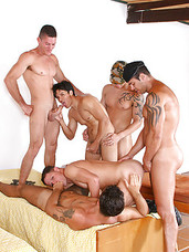 Hot muscle and athletic military guys have 6-way gangbang