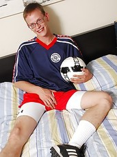 Twink Trey Seagles jerking off onto his soccer ball.