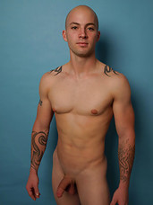 Hot tattooed stud gets ready for action.